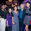 Purple party, unidentified woman, Chloe Dao, Stacey Lindseth, Mickey Rosemarin, Yuan Yuan Zhang
