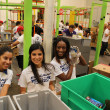 News, Shelby, Silver Eagle Distributors at Food Bank, July 2015 , Maribel Torres, Karen Paniagua, Shamika Hamilton