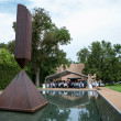 The Broken Obelisk and the crowd at lunch at Love Your Enemies seminar with Robert Thurman at Rothko Chapel October 2014