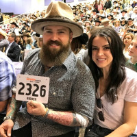 Zac Brown, Shelley Brown at Rodeo steer auction
