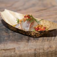 Madai, strawberry boshi, and green tomato from Uchi