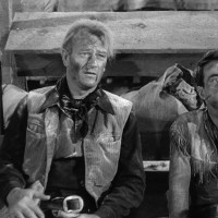 John Wayne and Montgomery Clift in Red River