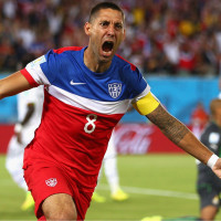 US men's national soccer team Clint Dempsey celebrating goal against Ghana in World Cup 2014
