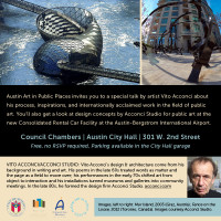 Artist Vito Acconci will speak at Austin City Hall for Art In Public Places about public art