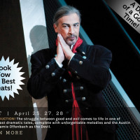 Jamie Offenbach in the role of Mephistopheles in Austin Lyric Opera's Faust by Gounod