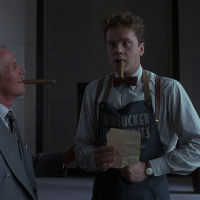 Paul Newman and Tim Robbins in Coen Brothers' The Hudsucker Proxy