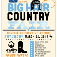 poster for the Big Hair Country Fair 2014 at Salt Lick in support of Creative action