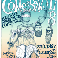 poster for Austin Facial Hair Club eighth annual Come and Shave It beard and mustache competition