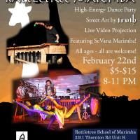 poster for Rattletree Marimba show Austin Meets Zimbabwe