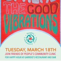 Poster for happy hour for Friends of People's Community Clinic