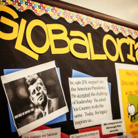 Globaloria bulletin board for East Austin College Prep