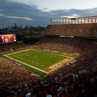 Darrell K Royal-Texas Memorial Stadium at night football Longhorns