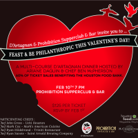 "D'Artagnan and Prohibition Supperclub & Bar host ""Feast and Be Philanthropic this Valentine's Day"""