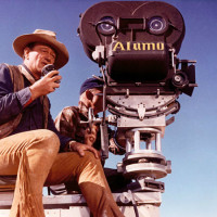 John Wayne_The Alamo_movie set_camera