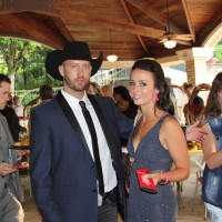 Steele party, Country singer Justin Myers with Nashville singer and Blue Sky cast member Genevieve Allen