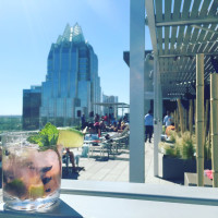 West Austin Downtown hotel rooftop pool patio view cocktail
