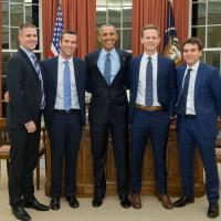Dan Pfeiffer, Jon Favreau, Tommy Vietor, and Jon Lovett of Pod Save America with President Barack Obama