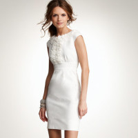 News_White linen_ruffle neck linen sheath dress_Anne Taylor