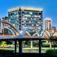 Fort Worth cityscape with Seventh Street Bridge
