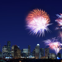 Fireworks Houston skyline