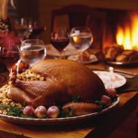 Thanksgiving turkey wine fireplace