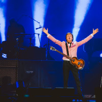 Paul McCartney at the Frank Erwin Center arms open