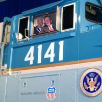 President George HW Bush Barbara Bush Train 4141 procession