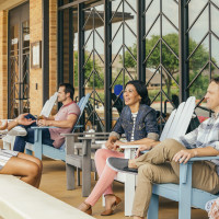 People hanging out on a patio
