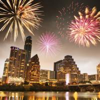 Austin skyline fireworks