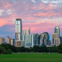 Zilker Park Austin skyline at sunset