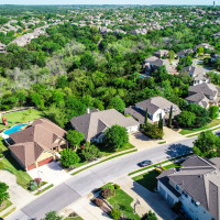 Cedar Park neighborhood aerial shot of Austin suburb
