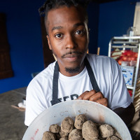 StarChefs Jonny Rhodes Indigo ash-aged potatoes