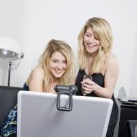 champagne laptop computer women toast virtual gala