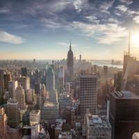 New York City skyline downtown Manhattan aerial
