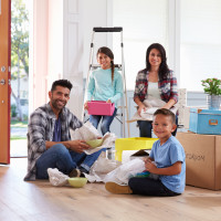 Family moving unpacking