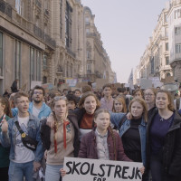 Greta Thunberg and protesters in I Am Greta
