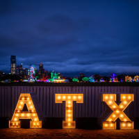 ATX sign with lights
