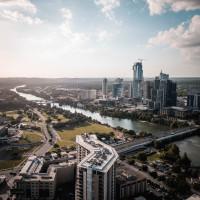 Austin downtown skyline aerial