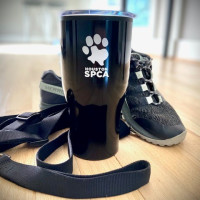 Houston SPCA cup and sneakers