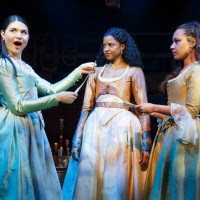 Phillipa Soo, Renee Elise Goldsberry, Jasmine Cephas-Jones in Hamilton on Broadway