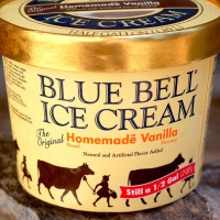 Blue Bell Ice Cream homemade vanilla in container
