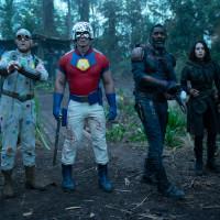 David Dastmalchian, John Cena, Idris Elba, and Daniela Melchior in The Suicide Squad