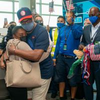Simone Biles comes home Houston Bush Intercontinental