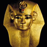 Ramses the Great and the Gold of the Pharaohs Houston Museum of Natural Science Gold Mask from king's Wooden Coffin- Inlaid Uraeus