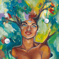 A painting of a Black woman with branches growing out of her head and an open third eye looks serene in front of an explosion of color.