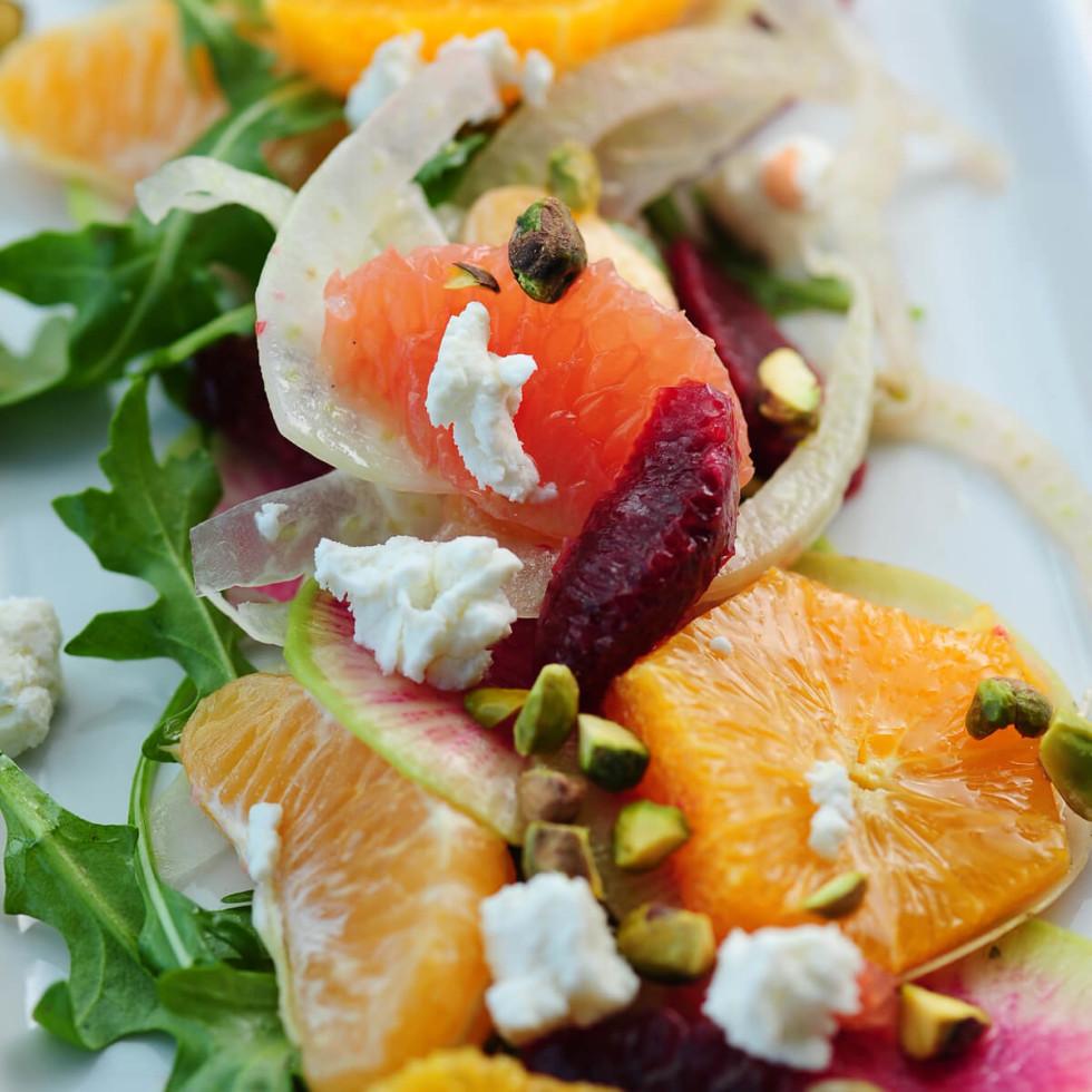 Citrus, fennel, radish and beet salad