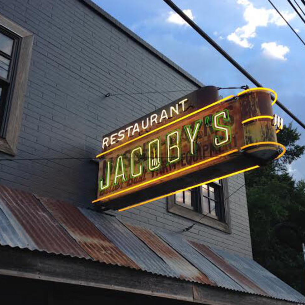 Jacoby's Austin exterior sign