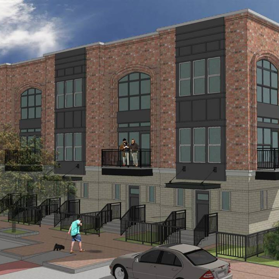 Rendering of The Brickyard apartments in Farmers Branch