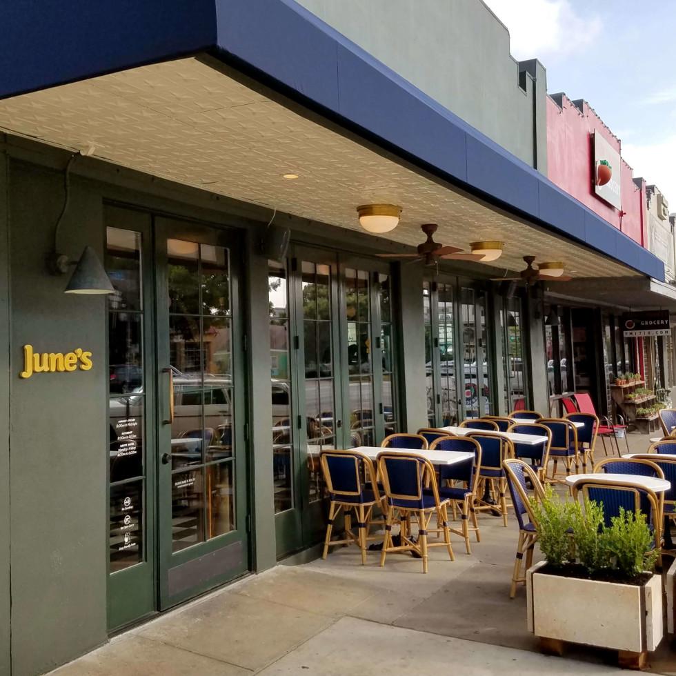 June's All Day restaurant Austin South Congress Avenue SoCo exterior patio