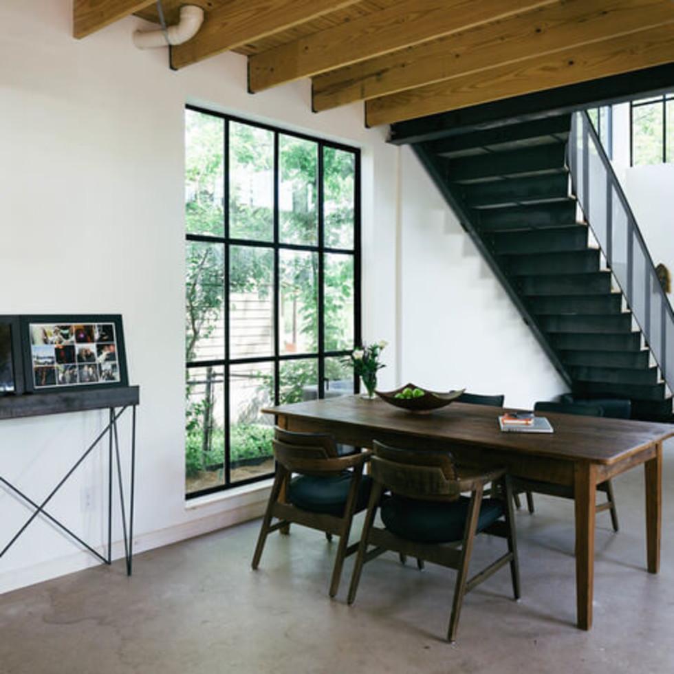Austin home house Houzz DIY modern Texas farmhouse Garden St dining room table staircase